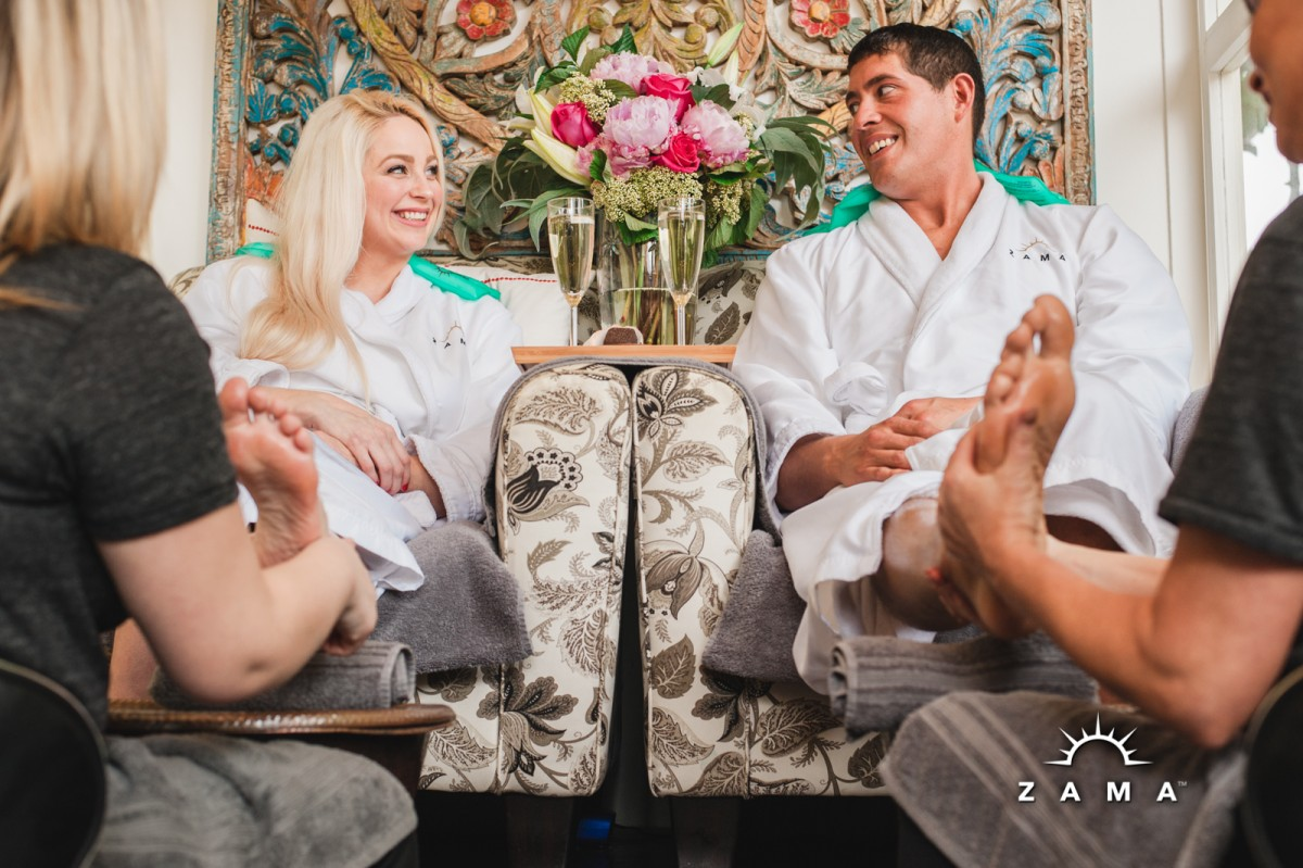 side by side soothing foot treatment